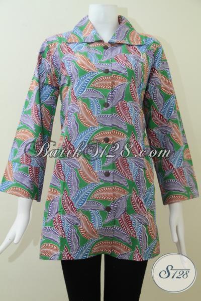 Pakaian Batik Wanita Paling Laris Saat Ini, Blus Batik Motif Trendy Warna Keren Sempurnakan Penampilan Wanita Berbadan Gemuk, Size XXL