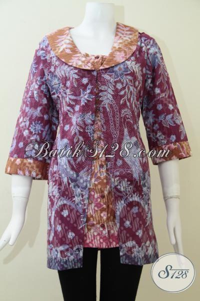 Blus Batik Model Terbaru, Baju Batik Kerja Wanita Karir Sejati, Size XL