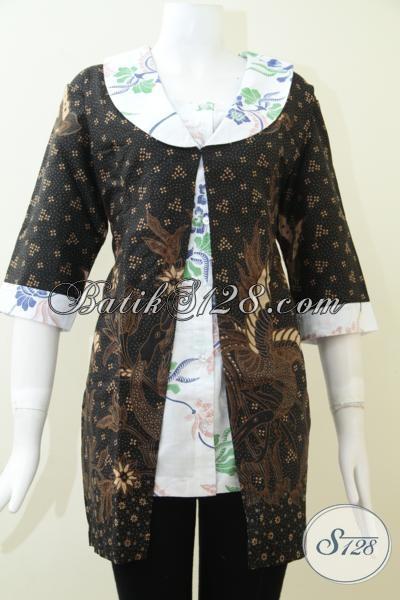 Busana Batik Trendy Dengan Kombinasi Warna Motif Batik Klasik Dan Modern, Baju Batik Resmi Untuk Pesta Kondangan Maupun Kerja, Size XL