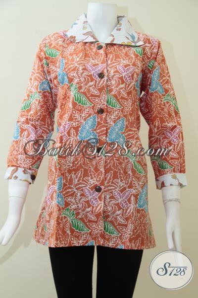 Blus Batik Lengan Tujuh Perdelapan Warna Orange Khusus Wanita Aktif [BLS1421P-L]