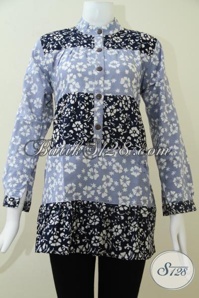 Blus Wanita Batik Paduan Warna Biru Muda Dan Biru Tua,Batik Solo Harga Terjangkau [BLS1425C-M]