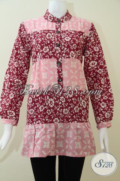 Blus Batik Cantik Perpaduan Warna Merah Muda Dan Tua, Trend Baju Batik Perempuan Muda 2014, Size L