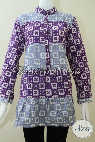 Pusat Batik Online Untuk Para Hijabers, Jual Busana Batik Solo Lengan Panjang Motif Trendy Dan Fashionable, Size L