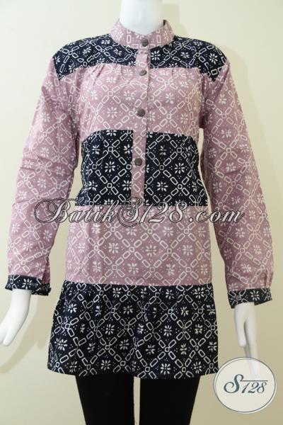 Pakaian Batik Lengan Panjang Keren Dengan Warna Pastel, Blus Batik Trendy Untuk Wanita Tampil Lebih Percaya Diri, Size XL