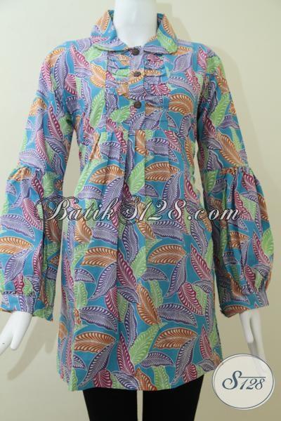 Blus Batik Lengan Panjang Motif Daun Warna Biru Keren Untuk Baju Kerja Dan Santai Wanita Berjilbab, Hijaber Stylish [BLS1440P-L, XXL]