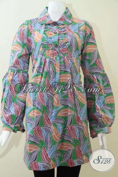 Blus Batik Wanita Lengan Panjang Modern batik Printing Tanpa
