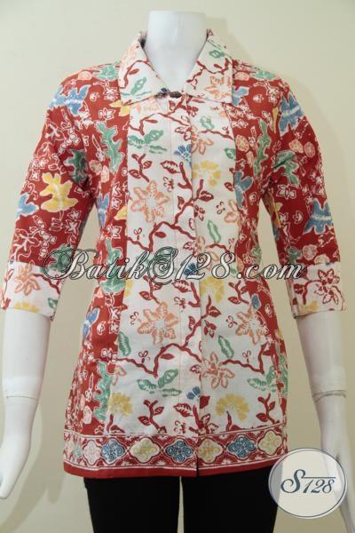 Jual Blus Baju Batik Trendy Perempuan Muda Tampil Cantik Feminim Dan Modern, Size M