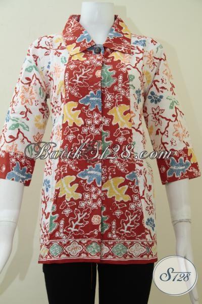 Baju Batik Trendy Untuk Perempuan Muda Aktif Energic, Blus Batik Kerja Bagus Harga Terjangkau, Size M