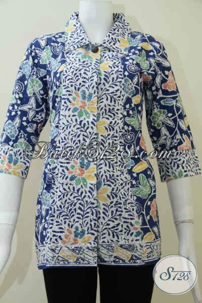 Pakaian Batik Lengan Tiga Perempat Cocok Untuk Cewek Karyawan Bank, Blus Batik Desain Terbaru Dengan Moti Unik Hanya Rp 148.000,- Size M