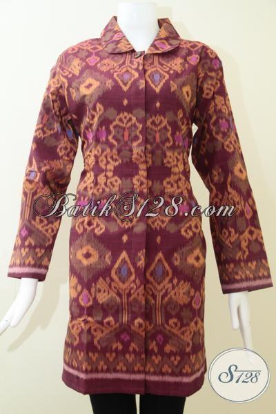 Pusat Penjualan Pakaian Tenun Asli Kwalitas Terjamin, Sedia Blus Tenun Mewah Mahal Berkelas Warna Merah, Size XL