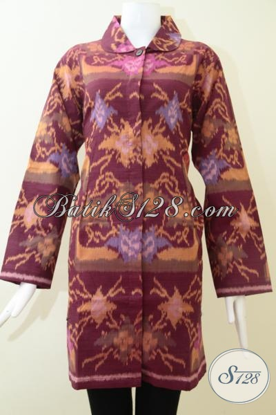 Jual Busana Tenun Lengan Panjang Klasik Modern, Baju Tenun Model Blus Cocok Untuk Perempuan Berhijab, Size XXL