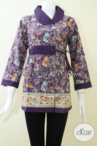 Pakaian Batik Resmi Untuk Busana Kerja Wanita Masa Kini, Blus Batik Warna Ungu Desain Trendy Dan Fashionable, Size M – L