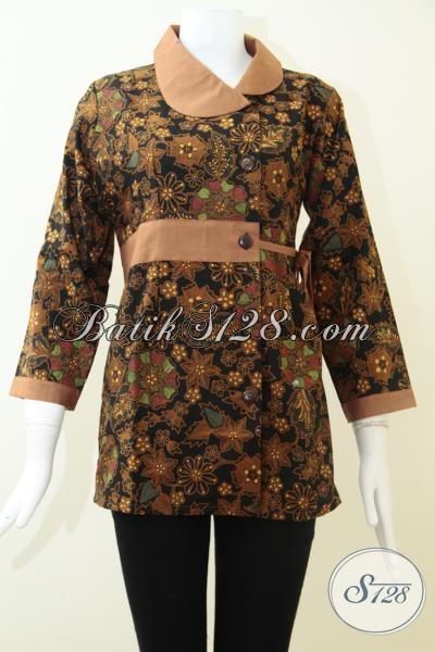 Blus Batik Solo Motif Dan Warna Klasik Cocok Untuk Pakaian Resmi Elegan Perempuan Dewasa, Size M – XL