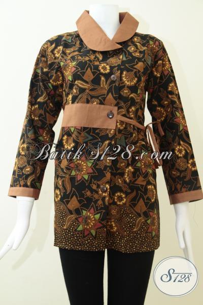 Batik Solo Bagus Halus Model Terkini, Baju Blus Batik Motif Keren Penunjang Penampilan Wanita Karir Sejati [BLS1462BT-XL]