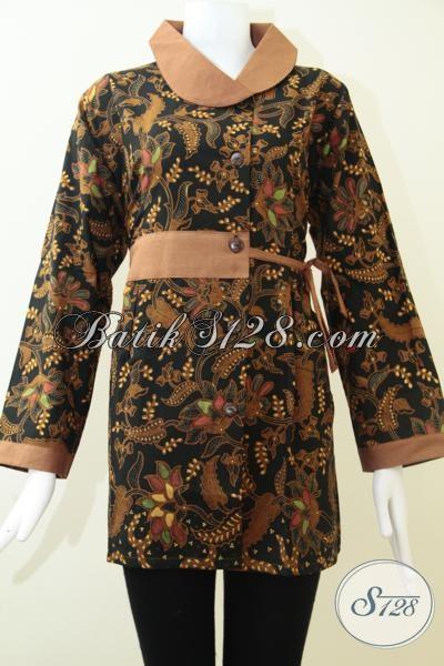 Pakaian Batik Trendy Buatan Pengerajin Solo Proses Kombinasi Tulis, Baju Batik Model Blus Cocok Untuk Kerja Dan Acara Resmi [BLS1464BT-XXL]