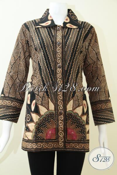 Pakaian Batik Formal Untuk Perempuan Karir Jabatan Tinggi, Blus Batik Tulis Klasik Mewah Berkelas, Size M