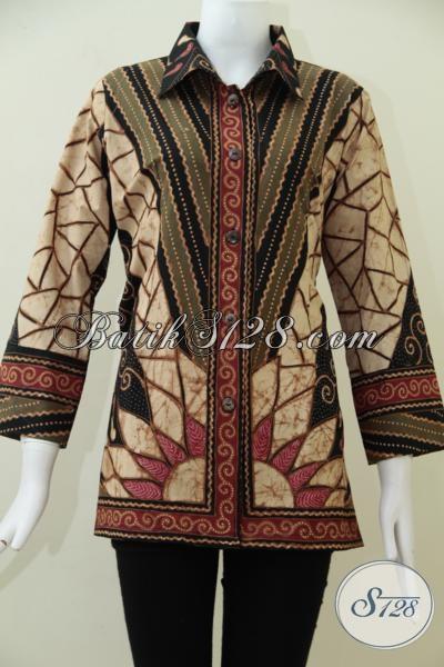 Blus Batik Tulis Istimewa Dengan Model Terbaru Trend Masa Kini, Baju Batik Seragam Kerja Wanita Kreatif, Size M