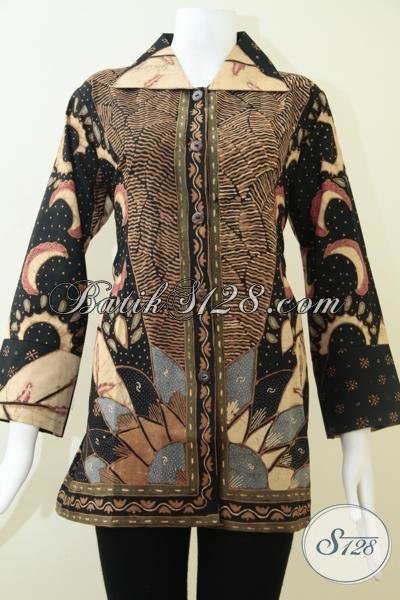 Toko Online Batik Solo Koleksi Paling Up To Date, Sedia Blus Batik Formal Untuk Seragam Kantor Wanita Karir, Size L