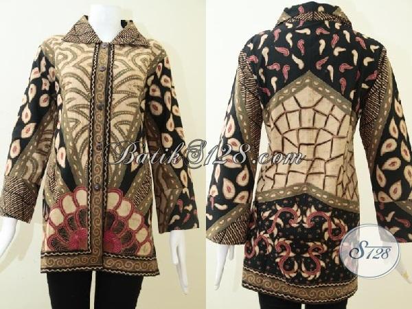 Blus Batik Klasik Mewah Harga Terjangkau, Baju Batik Solo Bahan Halus Adem Nyaman Dipakai, Size XL