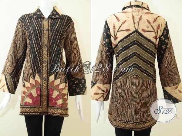 Baju Batik Tulis Ukuran Jumbo Khusus Untuk Perempuan Gemuk, Busana Batik Blus Model Resmi Seragam Kerja Wanita Karir Sejati, Size XXL