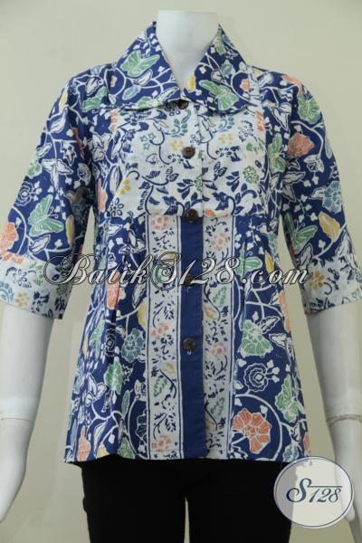 Jual Online Blus Batik Seragam Kerja Wanita Kantoran, Baju Batik Kwalitas Mewah Harga Murah, Size S – M