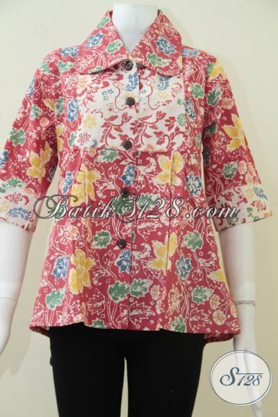 Butik Batik Online Paling Up To Date, Sedia Koleksi Blus Terbaru Warna Merah Motif Klasik Modern Cocok Dipakai Untuk Kerja Pesta Maupun Hangouts [BLS1486C-M]