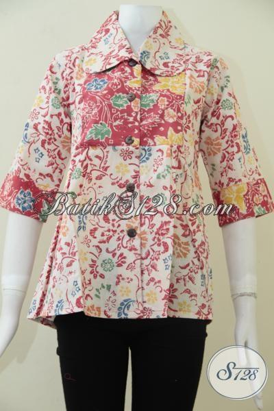 Butik Batik Online Jual Busana Batik Untuk Wanita Model Terbaru Paling Trendy Dan Modern, Blus Batik Untuk Kerja Dan Santai [BLS1487C-M]