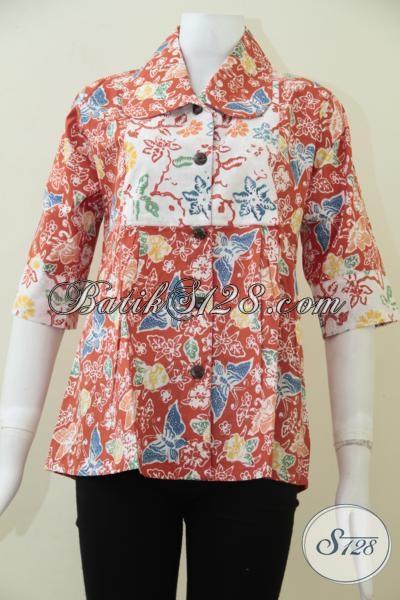 Pakaian Batik Perempuan Model Terbaru Dengan Paduan Warna Cerah Dan Motif Trendy, Blus Batik Solo Modern Busana Wanita Muda Tampil Beda, Size S – M