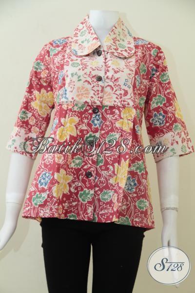 Pusat Jual Busana Batik Untuk Perempuan Online, Sedia Batik Blus Busana Kerja Terbaru Dengan Desain Berkelas Motif Trendy Dan Warna Keren, Size M