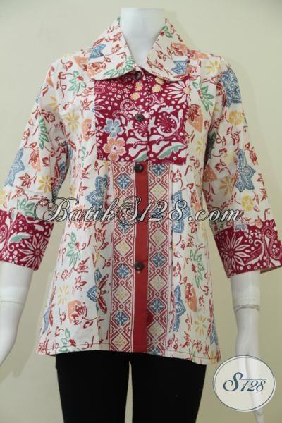 Online Shop Baju Batik Cewek Model Terkini, Busana Batik Blus Warna Cerah Kombinasi Merah Dan Putih Terlihat Trendy Dan Berkelas, Size L