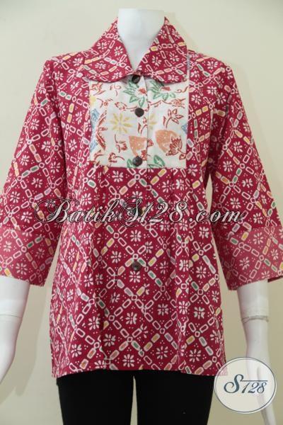 Blus Batik Warna Merah Dengan Motif Unik Menambah Kesan Trendy Dan Berkelas, Baju Batik Modern Untuk Wanita Tampil Lebih Feminim Dan Bergaya, Size XL