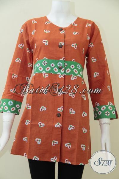 Busana Batik Modern Warna Orange Untuk Wanita Muda Yang Tidak Ingin Ketinggalan Mode, Size XL – XXL