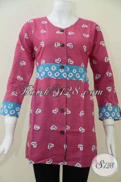 Baju Blus Batik Trendy Modern Dan Fashionable, Pakaian Batik Pesta Perempuan Muda Tampil Cantik Dan Lebih Percaya Diri [BLS1501P-XL]