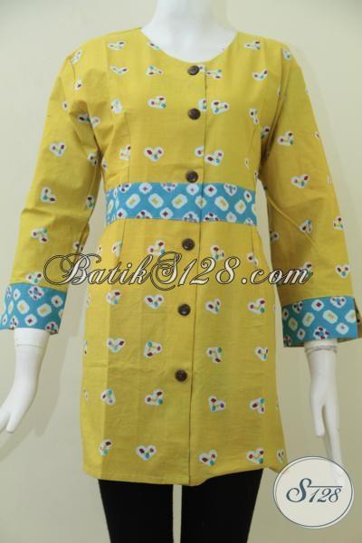 Tempat Belanja Online Baju Batik Murah Dengan kwalitas Mewah, Baju Batik Print Warna Kuning Motif Terbaru Cocok Untuk Perempuan Muda Dan Remaja Putri, Size M
