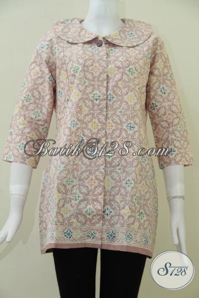 Baju Blus Batik Warna Pastel Lebut Dan nyaman Dipakai, Batik Bagus Untuk Kerja Dan Trendy Untuk Jalan-Jalan, Size L