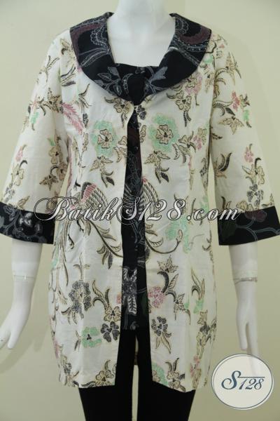 Juragan Busana Batik Online Di Solo, Jual Baju Batik Cewek Model Terkini, Blus Batik Trendy Model Blus Rangkap Keren Dan Fashionable, Size L