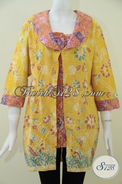 Butik Batik Online Di Solo Jual Pakaian Batik Wanita Muda Masa Kini Model Terbaru, Blus Batik Kuning Motif Keren Cocok Untuk Ke Pesta Dan Kondangan, Size L