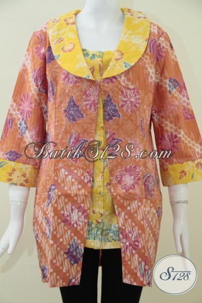 Butik Batik Solo Pusat Online Oleh-Oleh Batik Solo, Jual Blus Batik Trendy Desain Terbaru Dengan Kombinasi Dua Motif Dan Warna [BLS1519P-L]