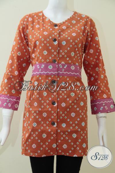 Blus Batik Trendy Warna Orange Cerah, Pakaian Batik Cantik Wanita Muda Aktif, Bisa Untuk Resmi Maupun Santai [BLS1537P-S,XL]