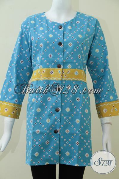 Online Shop Batik Wanita Lengkap Dan Murah, Sedia Blus Batik Bagus Warna Biru Dengan Motif Unik Untuk Karyawati Hanya Rp 95.000,- , Size M – L