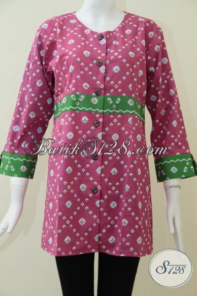 Batik Cantik  Warna Pink Produk Solo Asli, Blus Batik Seragam Kerja Kwalitas Mewah Dengan Harga Bawah [BLS1540P-S]