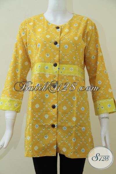 Tempatnya Belanja Online Busana Batik Di Solo, Jual Baju Batik Perempuan Model Blus Terkini Warna Kuning Cerah Dan Trendy, Size S – M