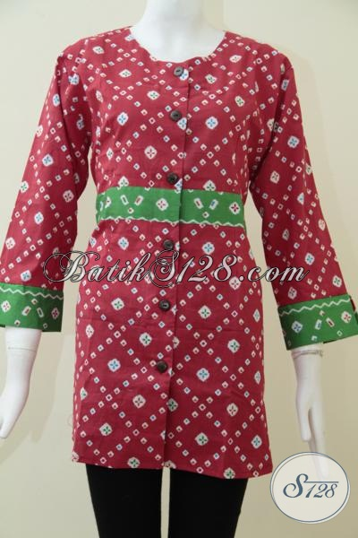 Butik Batik Solo Online, Jual Baja Blus Batik Kerja Warna Merah Dengan Desain Paling Baru Yang Lebih Modis Dan Fashionable, Size L – XL
