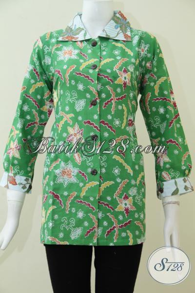 Blus Batik Hijau Cerah  Bermotif Unik Membuat Penampilan Wanita Karir Lebih Segar Dan Modis, Batik Murah Kwalitas Mewah, Size L
