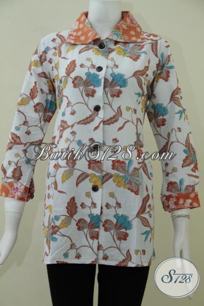 Baju Batik Trendy Untuk Wanita Muda Masa Kini, Blus Batik Model Terbaru Dengan Motif Keren Cocok Untuk Seragam Kerja, Size M