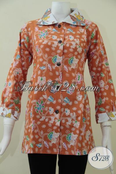 Pakaian Batik Solo Kwalitas Bagus Harga Murah, Baju Batik Blus Orange Motif Trendy Untuk Wanita Karir Masa Kini [BLS1548P-L]