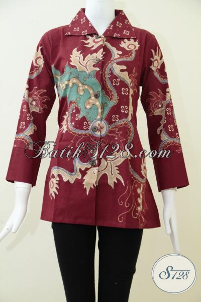 Blus Batik Tulis Dengan Desain Masa Kini Lebih Trendy Dan Modern, Baju Batik Seragam kerja Warna Merah Wanita Tampil Cantik Dan Manis, Size S