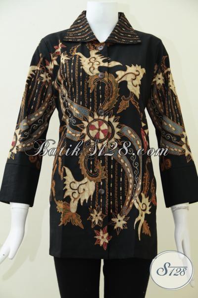 Busana Batik Formal Untuk Perempuan Karir, Baju Blus Batik Tulis Soga Pewarna Alami Wanita Tampil Cantik Dan Elegan, Size M