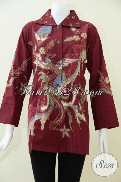 Butik Batik Online Solo Sedia Pakaian Batik Tulis Warna Merah Motif Bagus Untuk Kerja Wanita Karir, Batik Solo Kwalitas Bagus Harga Terjangkau, Size L