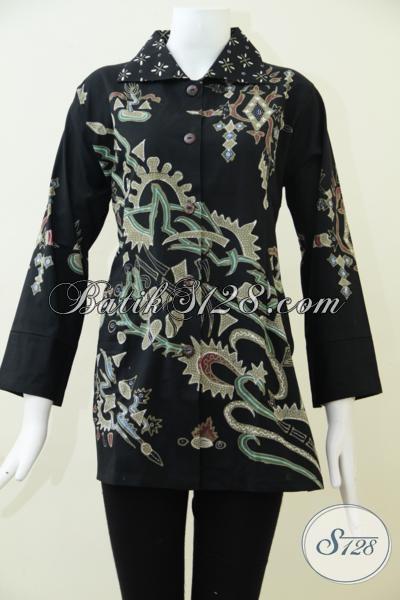 Jual Pakaian Batik Kerja Wanita Dewasa Tampil Awet Muda Dan Fresh, Blus Batik Hitam Mewah Dan Elegan [BLS1562T-L]